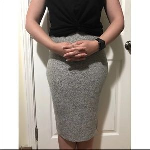 Soft gray knee length stretch skirt